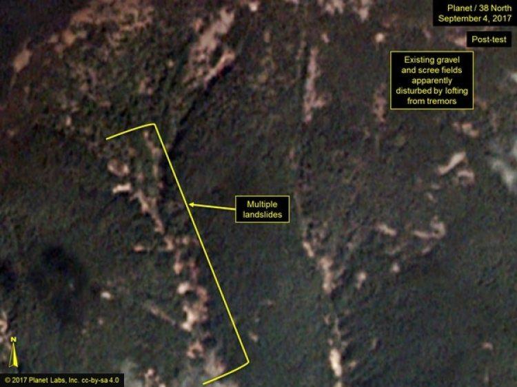 Una imagen que muestra los deslizamientos de tierra en Punggye-Ri tres días después de la prueba nuclear (38 North)