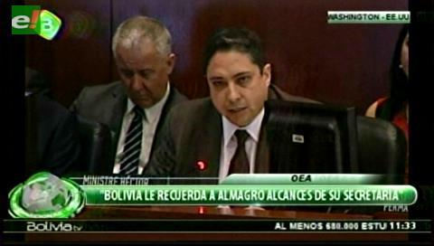 Ministro boliviano defiende en la OEA la reelección indefinida y arremete contra Almagro