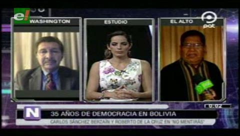 Sánchez Berzaín y De la Cruz se enfrentan en un programa de televisión
