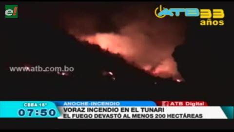 Se registró un voraz incendio en el Parque Tunari