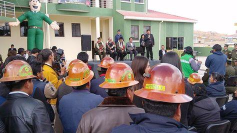 El presidente Evo Morales en entrega de infraestructura policial en Potosí. Foto:Ministerio de Comunicación