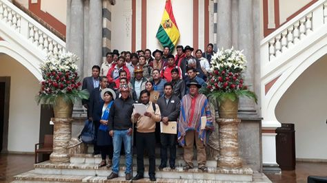 Conferencia de prensa de los dirigentes de la Conalcam tras reunión con el presidente Evo Morales. Foto:Ministerio de la Presidencia