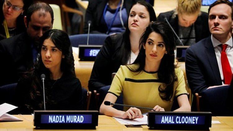 Nadia Murad y su abogada, Amal Clooney, en las Naciones Unidas