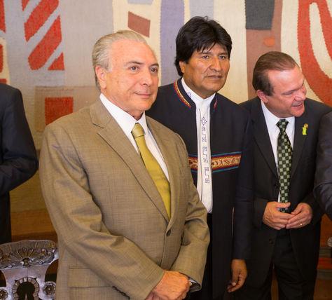 El presidente del Brasil, Michel Temer, y su par de Bolivia, Evo Morales, en un encuentro que tuvieron en 2016. Foto: Marcos Corrêa
