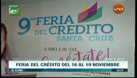 Santa Cruz: La Feria del Crédito se realizará del 16 al 19 de noviembre