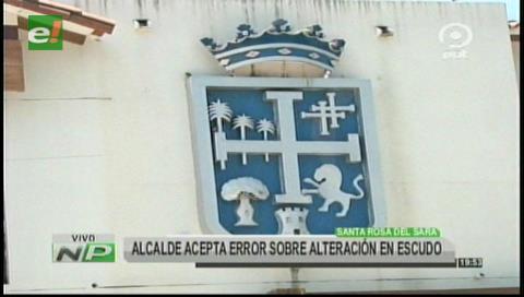 Alcalde de Santa Rosa admite el error con el escudo cruceño