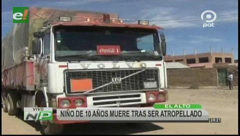 Niño de 10 años muere tras ser atropellado en El Alto