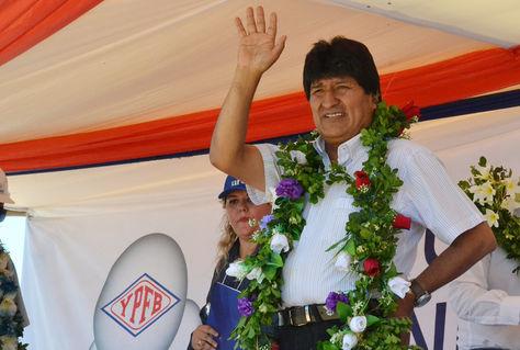 El presidente Evo Morales en el acto de inicio de exportación de urea en Puerto Quijarro. Foto: ABI