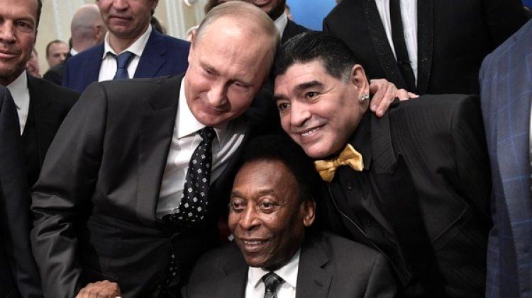 Putin, Maradona y Pelé (Reuters)