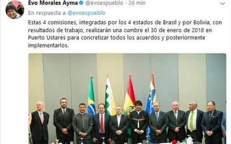 El presidente Evo Morales informa en su cuenta en Twitter sobre la cumbre que se realizará el 30 de enero.