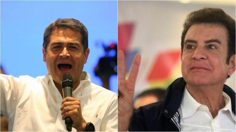 El presidente Juan Orlando Hernández y el candidato opositor Juan Nasralla