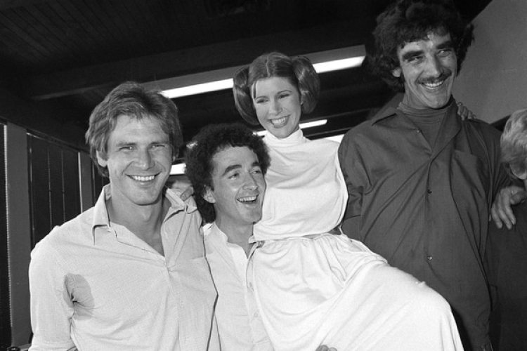 1978 – actores Harrison Ford, Anthony Daniels, Carrie Fisher y Peter Mayhew (AP Photo/George Brich, File)