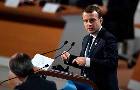 El presidente de Francia, Emmanuel Macron, en la Cumbre de París