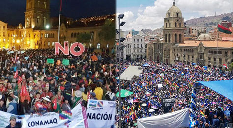 A la izquierda, la movilización del No el Día de la Democracia y, a la diestra, la concentración del MAS, ambos en La Paz.