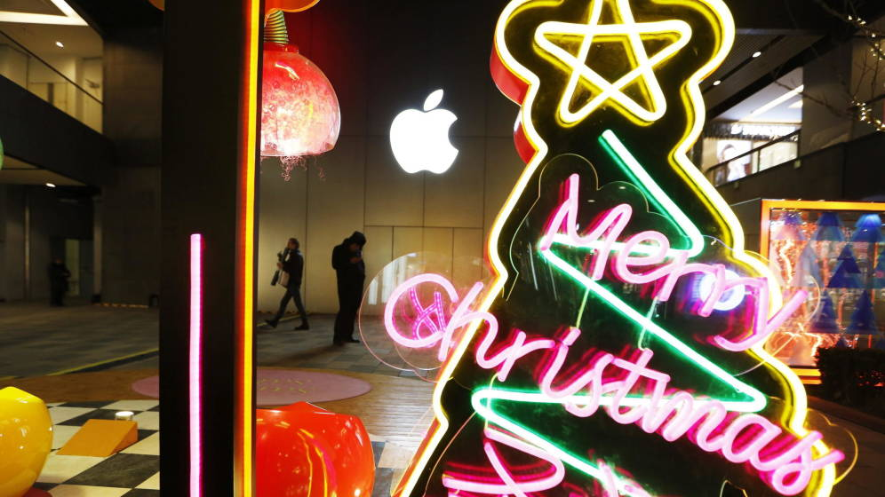 Foto: Decoración navideña en Pekín (EFE)