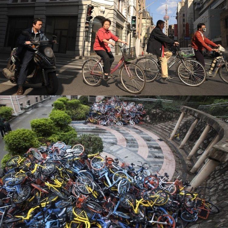 A pesar de la proliferación de los cementerios de bicicletas, los vehículos de dos ruedas continúan siendo fundamentales para la movilidad urbana de millones de chinos