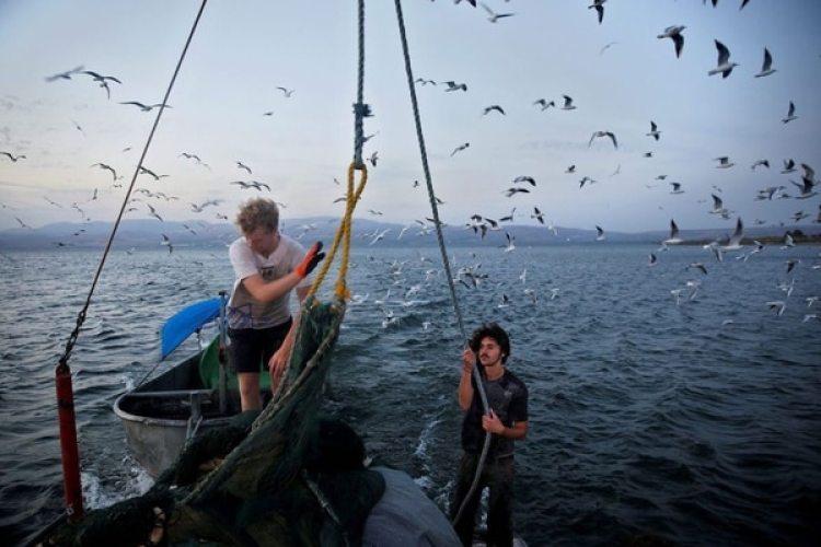 Pescadores trabajan en el mar de Galilea