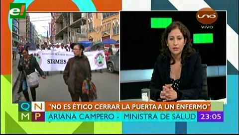 Ministra Campero: «No es ético cerrar la puerta a un enfermo»