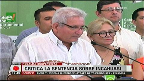 Incahuasi: Rubén Costas ve intención de perjudicar Santa Cruz