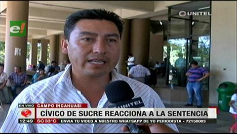 Cívico de Sucre dice que Incahuasi no genera confrontación con Santa Cruz