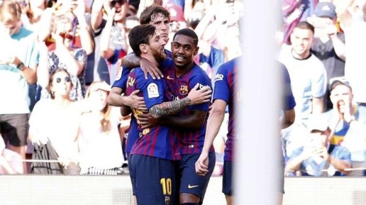 La celebración de Messi y Malcom ante Boca (@FCBarcelona_es)