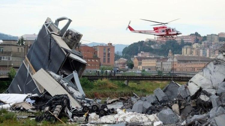 Derrumbe del puente Morandi, en Génova