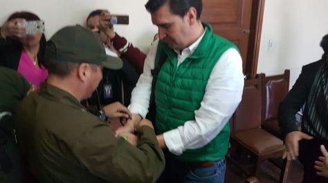 El alcalde de Cochabamba, José María Leyes, durante su audiencia, este lunes. Foto: Ángelica Melgarejo
