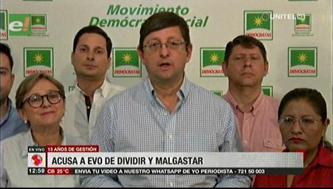 Ortiz dice que en 13 años de gestión Morales se dedicó a dividir y confrontar a los bolivianos