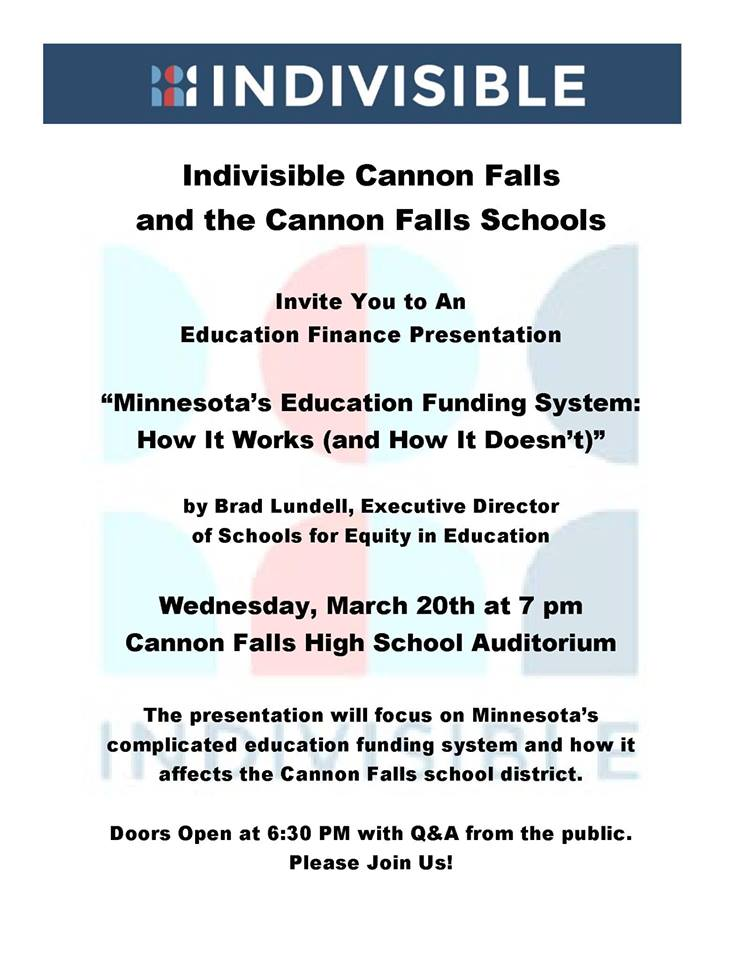 Education Finance Presentation- Cannon Falls @ Cannon Falls High School- Auditorium