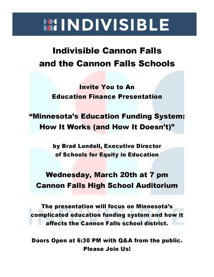 Education Finance Presentation- Cannon Falls @ Cannon Falls High School- Auditorium
