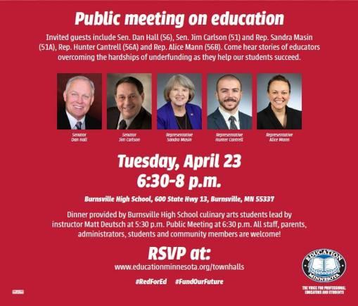 SD 51/56 Public Meeting on Education @ Burnsville High School