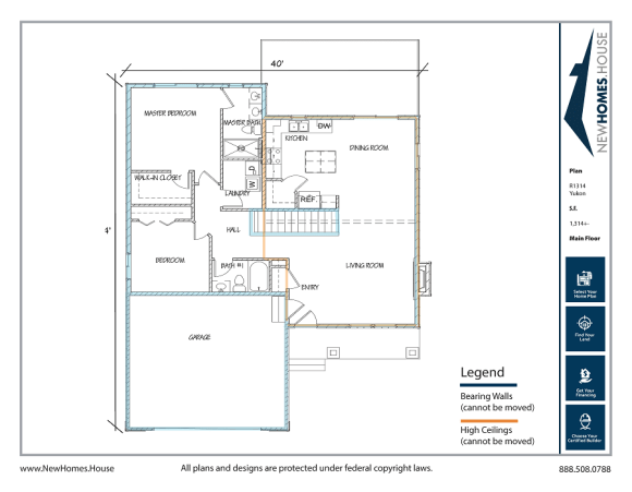 Yukon single story home plan from CDAhomeplans.com Main Floor Page with Optional Stairs for lower level