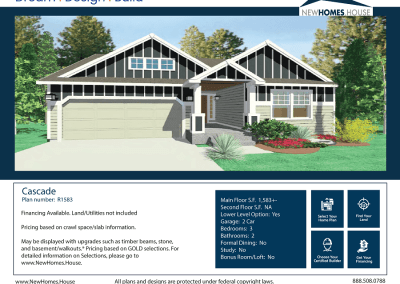 Cascade 1,583 s.f. Homeplan from CDAhomeplans.com