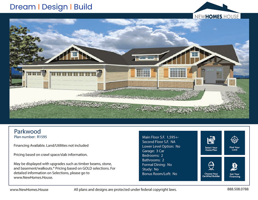 Parkwood single story home plan from CDAhomeplans.com Elevation Page