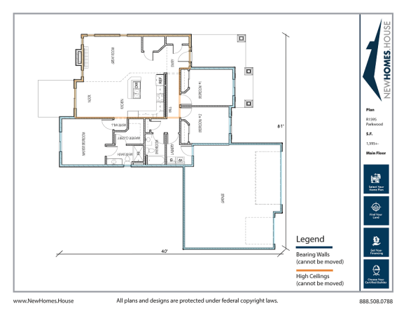 Parkwood single story home plan from CDAhomeplans.com Main Floor Page