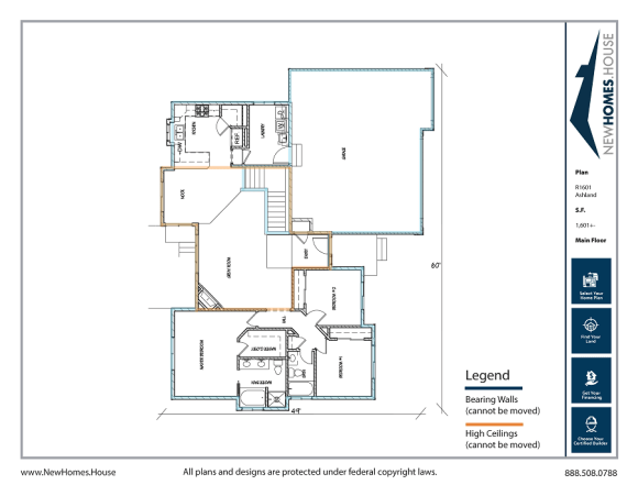 Ashland single story home plan from CDAhomeplans.com Main Floor Page