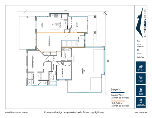 Sherwood single story home plan from CDAhomeplans.com Main Floor Page