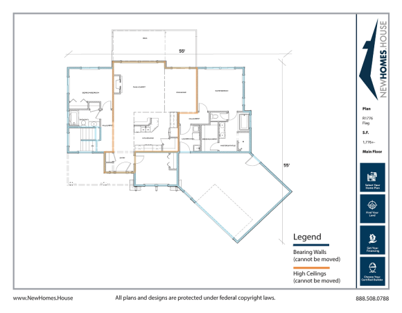 Flag single story home plan from CDAhomeplans.com Main Floor Page