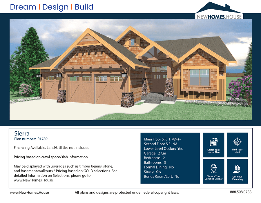 Sierra single story home plan from CDAhomeplans.com Elevation Page