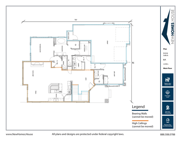 Selkirk single story home plan from CDAhomeplans.com Main Floor Page