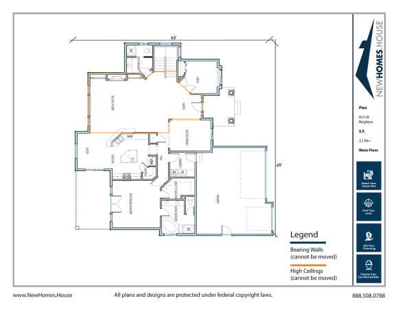Brighton single story home plan from CDAhomeplans.com Main Floor Page