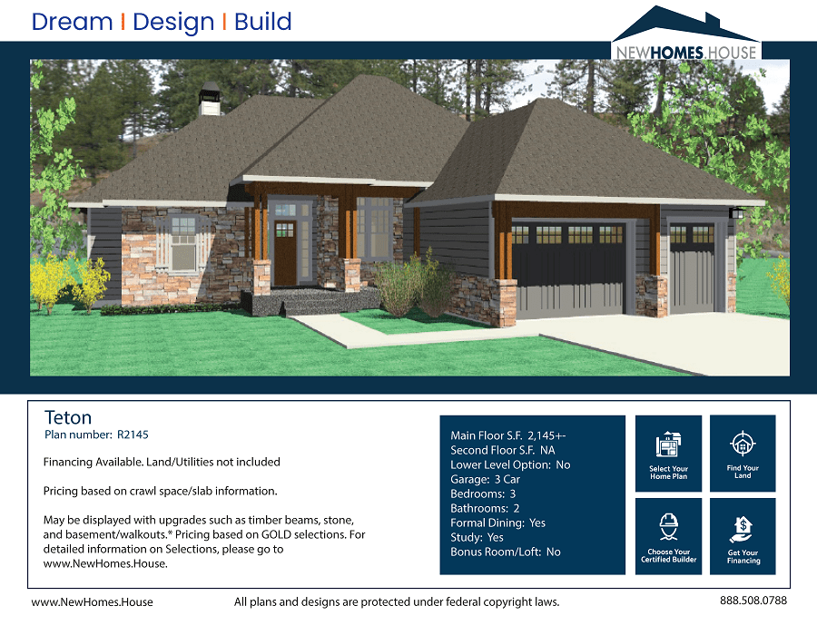Teton single story home plan from CDAhomeplans.com Elevation Page