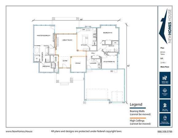 Teton single story home plan from CDAhomeplans.com Main Floor Page