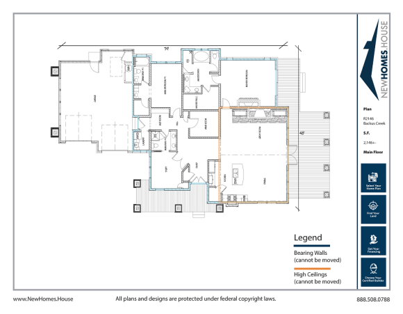 Backus Creek single story home plan from CDAhomeplans.com Main Floor Page