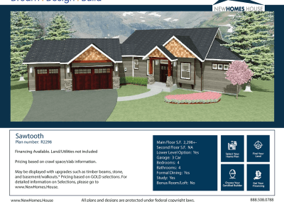 Sawtooth 2,298 s.f. Homeplan from CDAhomeplans.com