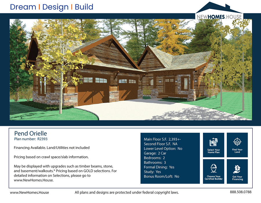 Pend Oreille single story home plan from CDAhomeplans.com Elevation Page