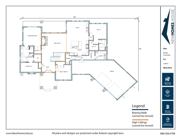 Cresswell single story home plan from CDAhomeplans.com Main Floor Page