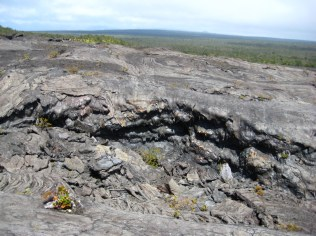 Fantastic drippy lava formations along an outflow channel.