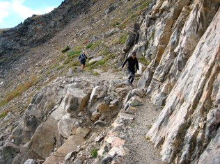 Spectacular trail between Arapaho and Caribou Passes across the north side of Mt. Neva.