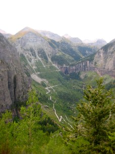 The exciting road up to Bridal Veil Falls (seen from the descent from Imogene Pass).